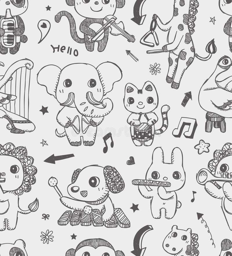 Seamless Doodle Animal Music Band Pattern Backgrou Stock