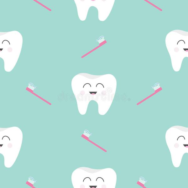 Seamless Pattern Brush Tooth Health Cute Funny Cartoon