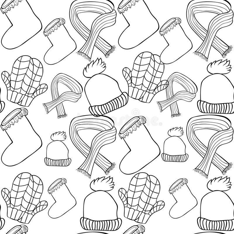 Winter Hat, Mittens And Scarf. Vector Illustration Stock