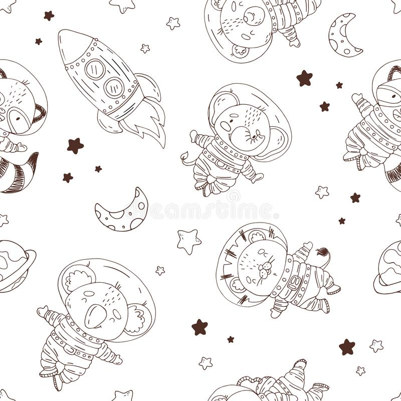 Rocket Seamless Pattern In Cartoon Style Stock Vector