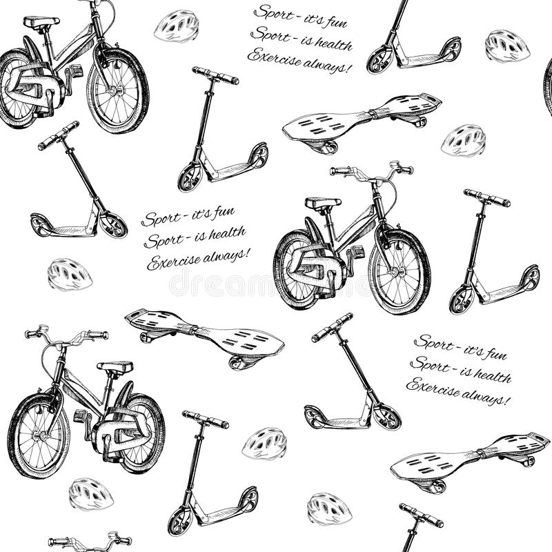Seamless Pattern Of Hand Drawn Baby Bike, Scooter, Wave