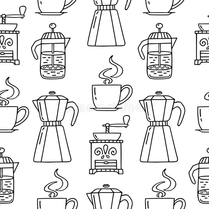 Pattern coffee maker stock vector. Illustration of
