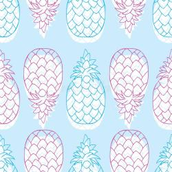 silhouette seamless pattern fruit pineapple outline colorful vector