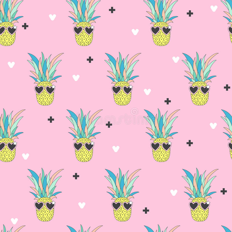 Pineapple Cute Wallpaper Seamless Pattern With Pineapple In Pop Art Style Stock