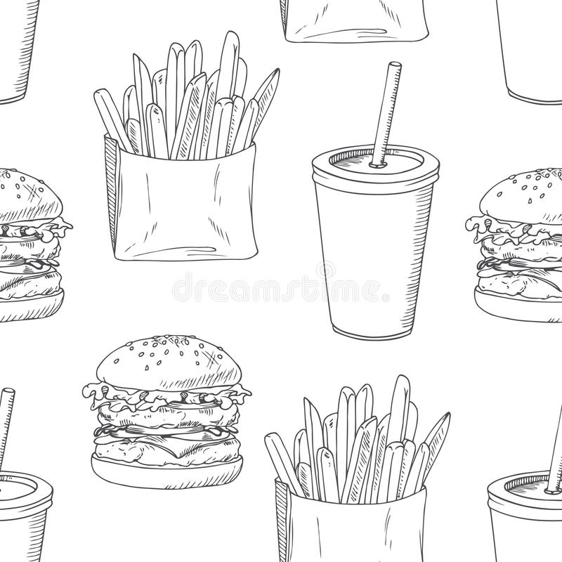 Seamless Pattern With Sketched Burger, French Stock Vector