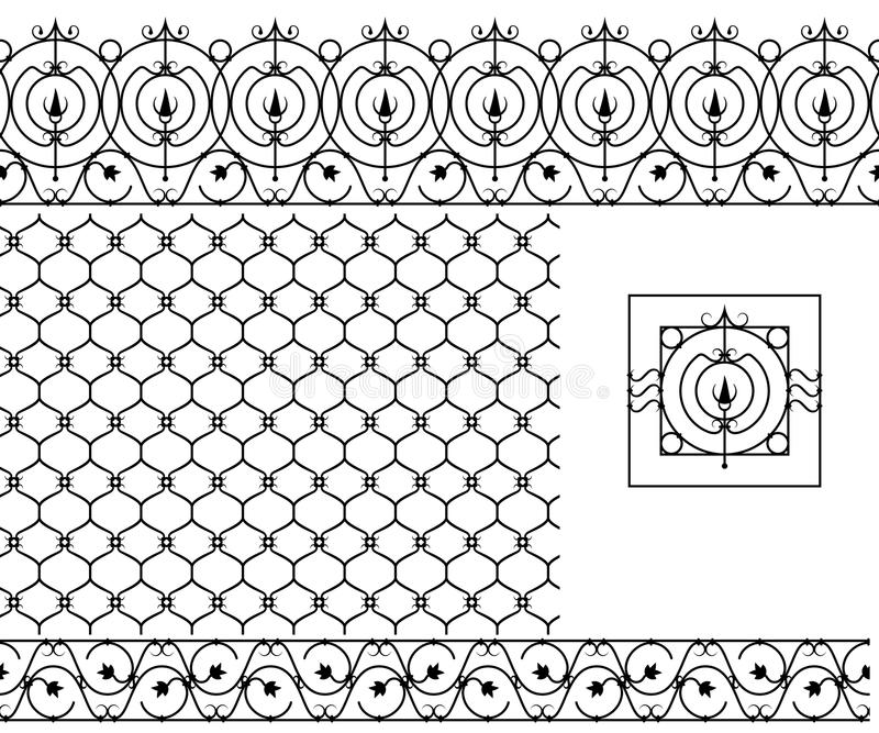 Seamless Patterns Set For Wrought Iron Railing, Grating