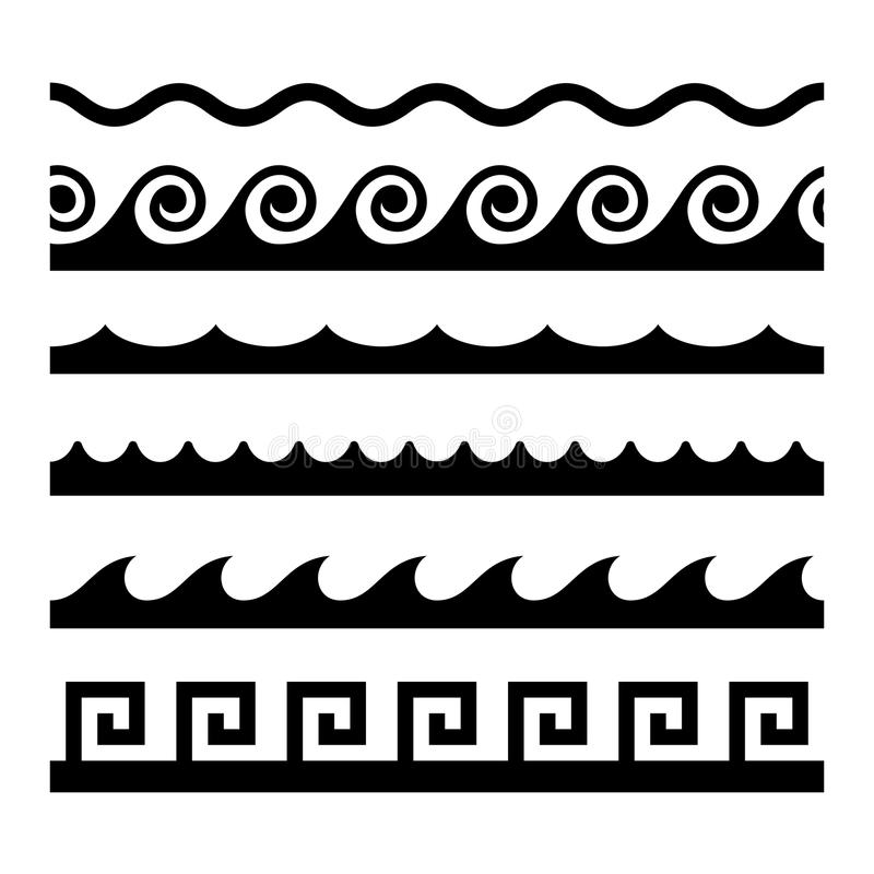 Seamless Wave Pattern Set. Vector Template Stock Vector