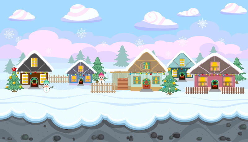 Seamless Winter Landscape With Holiday Houses For Christmas Game Design Stock Vector