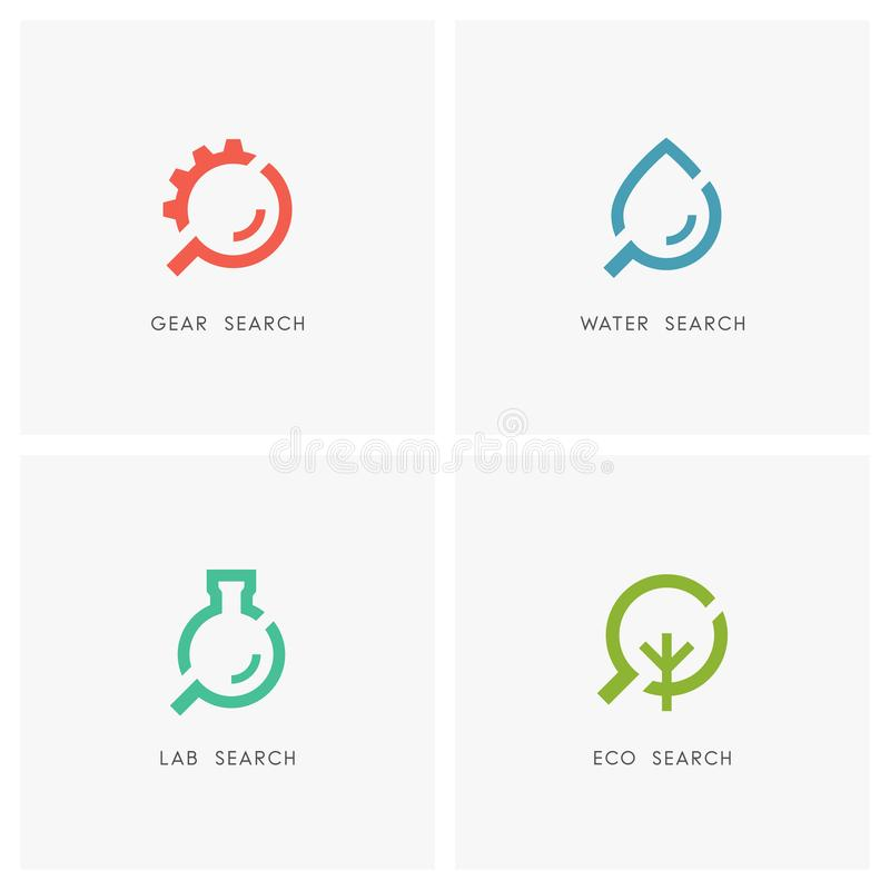 Search logo set stock vector. Illustration of drop