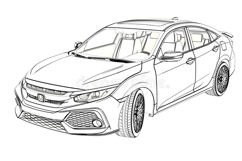 Sedan Honda Civic 2017 Graphic Sketch. 3D Illustration