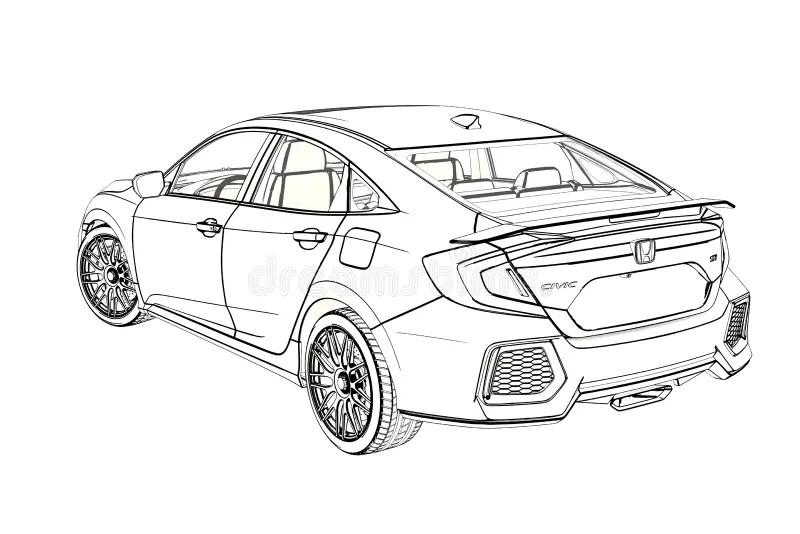 Sedan Honda Civic 2017 Graphic Sketch. 3D Illustration