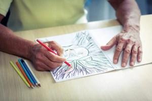 senior drawing pencil colored illustration