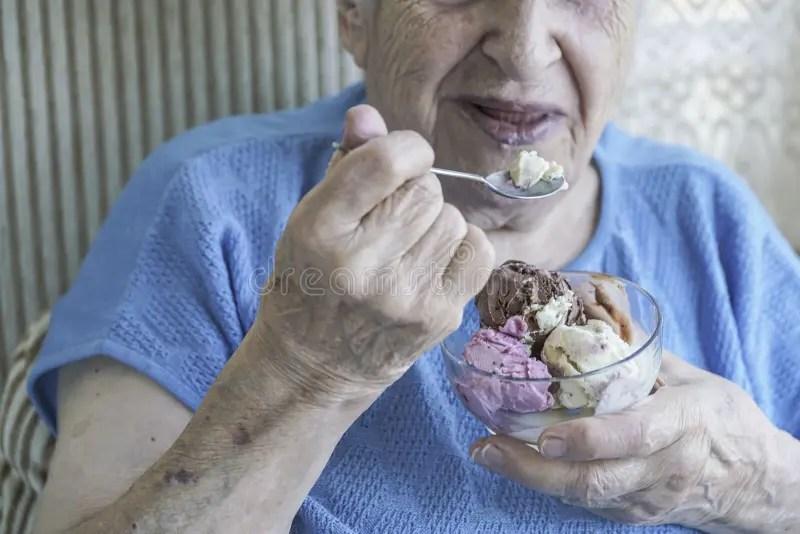 Senior Woman Eating Ice Cream Stock Photo - Image of fresh ...