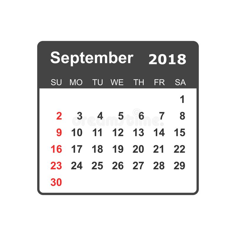 September 2018 Calendar. Calendar Planner Design Template