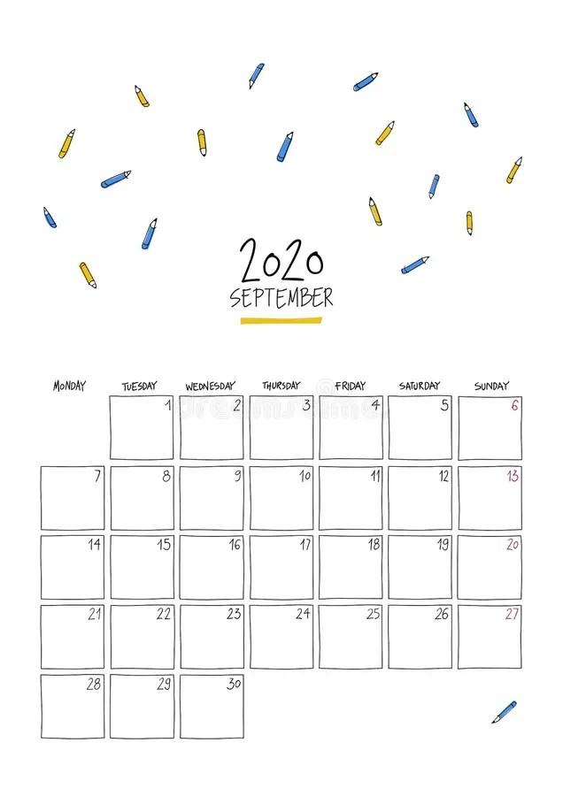 August 2020 Doodle Wall Calendar Stock Vector