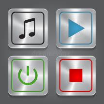 Media Player Control Button Ui Icon Set Stock - Year of