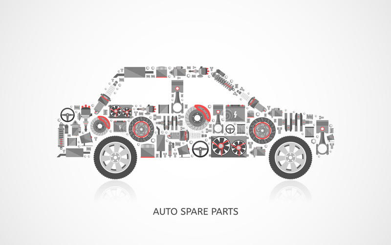 Set of auto spare parts stock vector. Illustration of