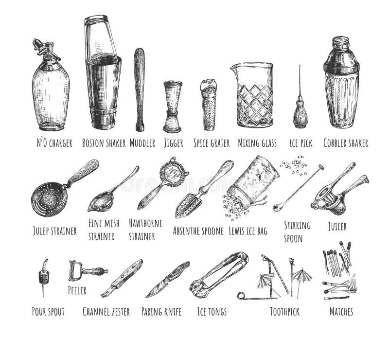 Bar Mixing Set stock vector. Illustration of hobbies