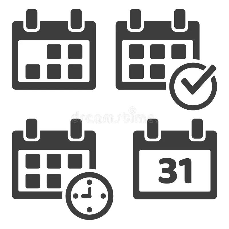 Mobile Calendar Icons Set stock vector. Illustration of
