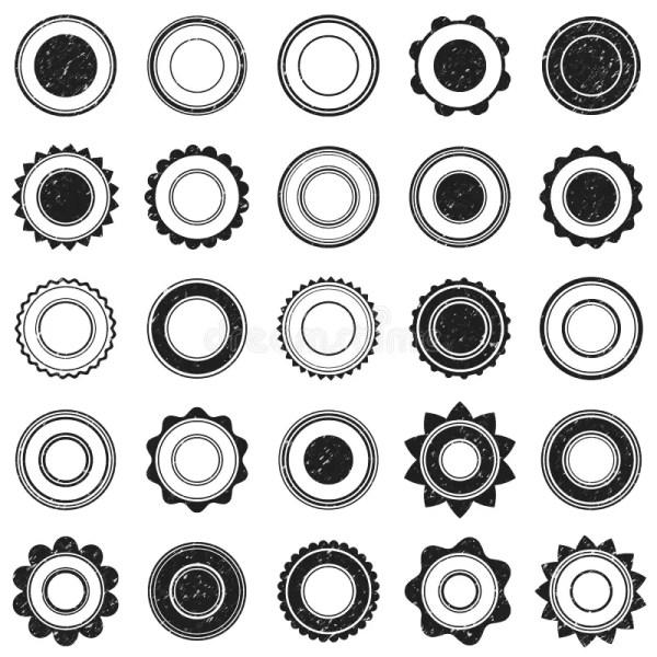 Set Of Black Grunge Stamp Round Shapes Vector Stock