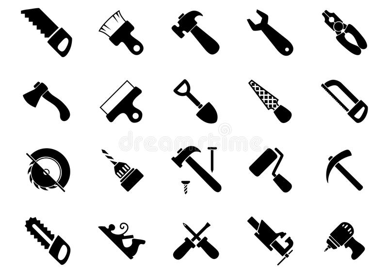 Black Icons Of Industrial Plants And Factories Stock