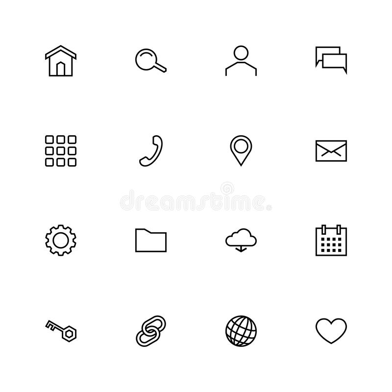 Set Of 16 Black Material Design Outline Web Icons Stock
