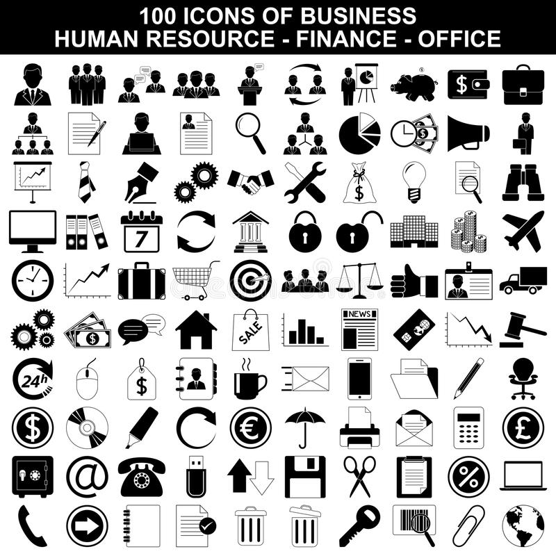 Set Of Business Icons, Human Resource, Finance Stock