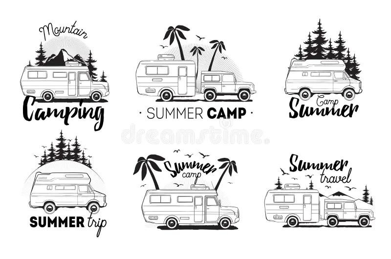 Set Of Camping Trailer Logo. Camper Vans Against Landscape