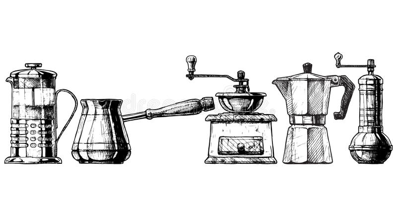 Plunger Coffee Stock Illustrations