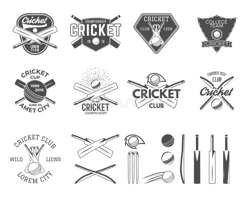 Set Of Cricket Sports Logo Designs. Cricket Icons Vector