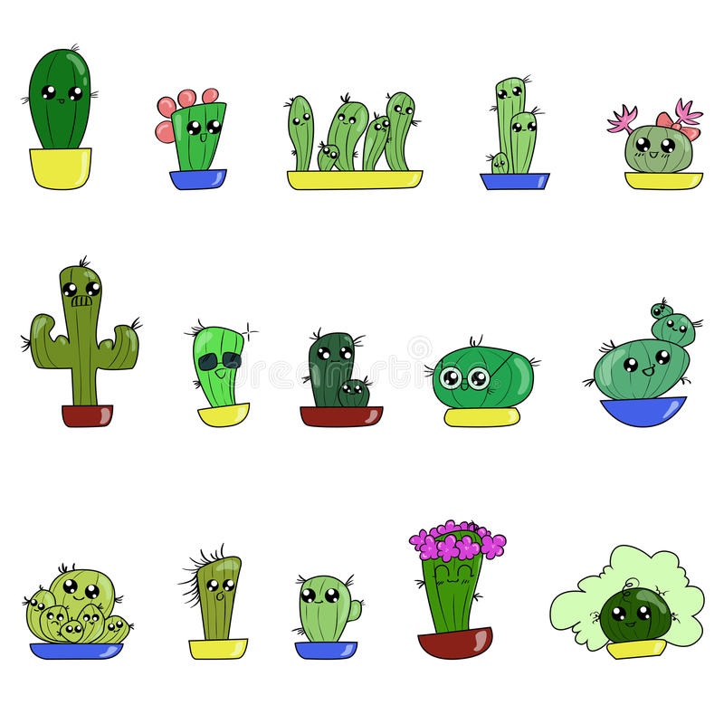 Aesthetic cute drawing Pinterest Set Of Cute Cartoon Handdraw Cactus Stock Vector Paigeeworld Aesthetic Cute Cactus Drawing Imgurl