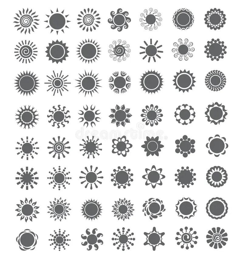 Abstract Set Of Solar Energy Logo. Sun Logo For The Brand