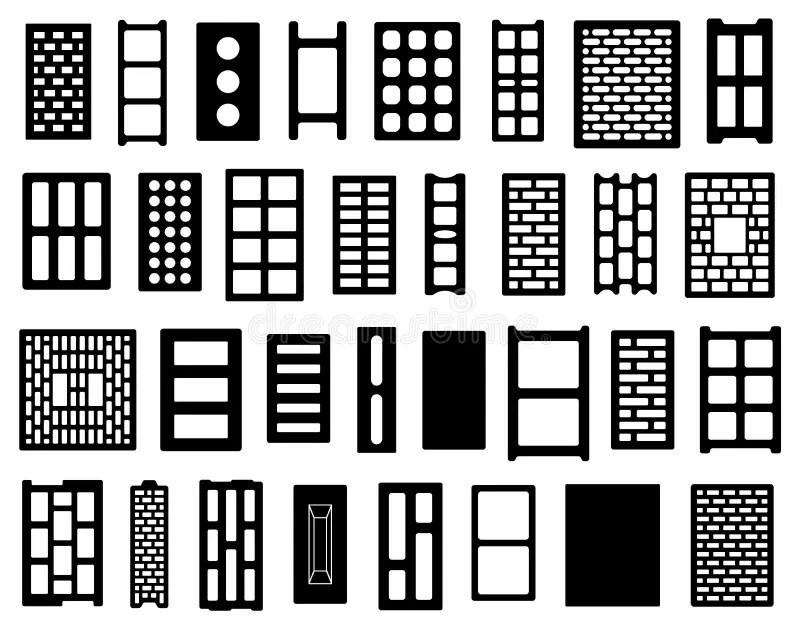 Concrete bricks samples stock illustration. Illustration