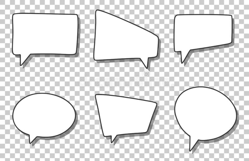 Blank Empty Speech Bubbles. Isolated On Transparent
