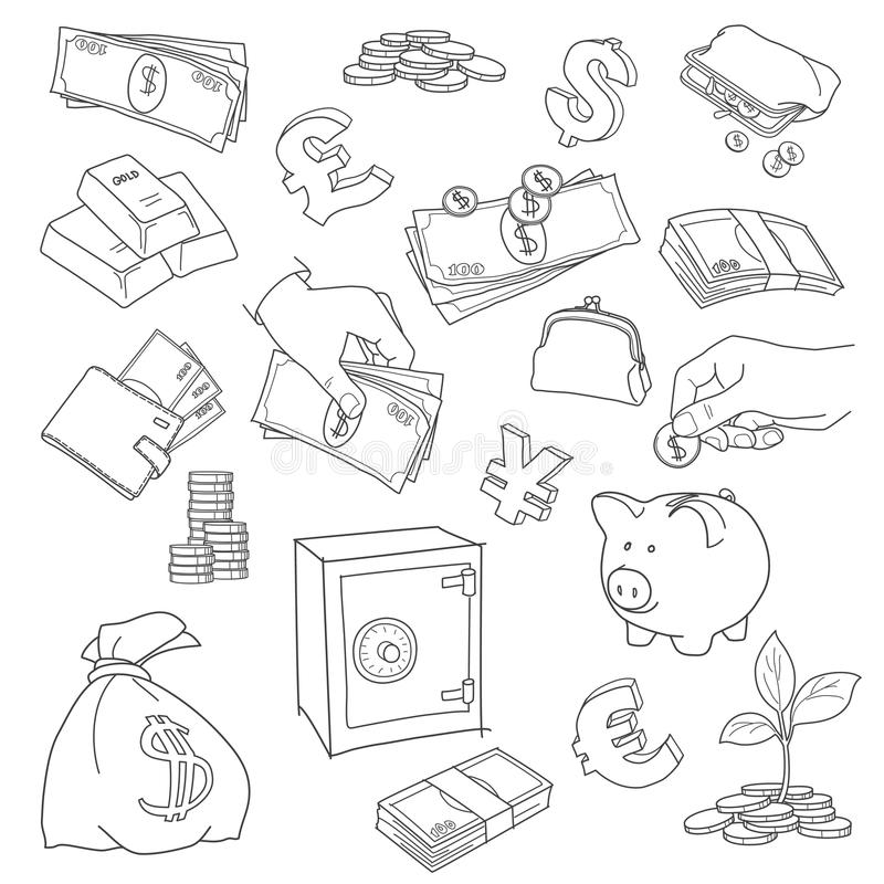 Money And Wealth Royalty Free Vector Icon Set Stock Vector