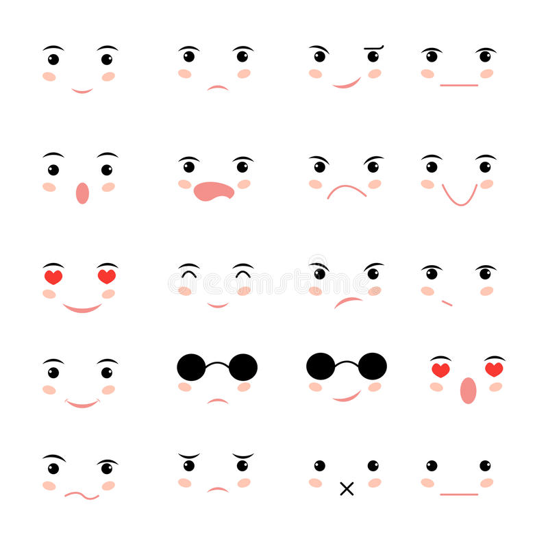 Set of faces with various stock illustration. Illustration