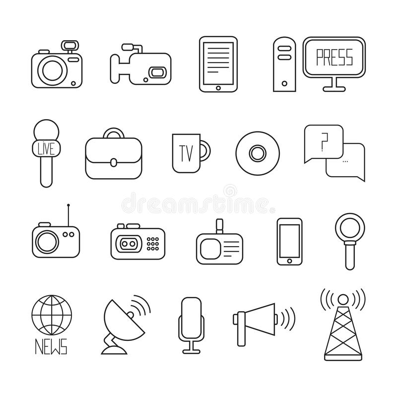 Set Of Flat Colorful Vector Journalism Icons. Mass Stock