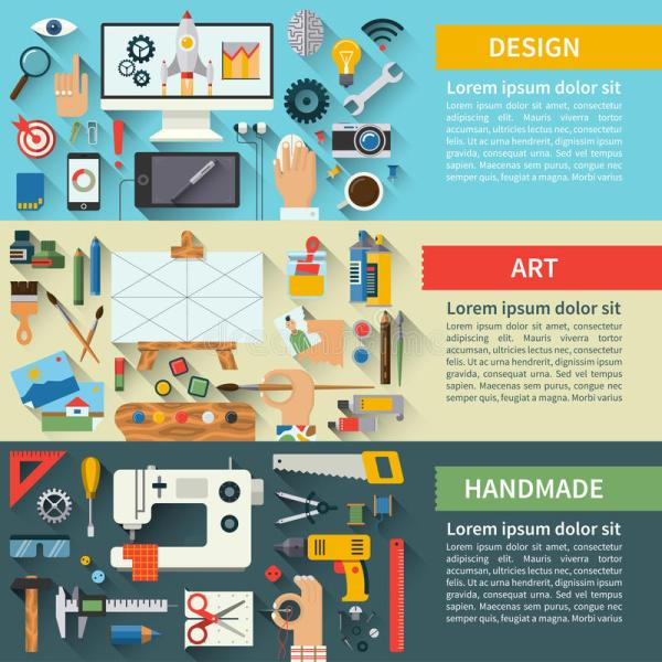 Set Of Flat Design Creative Process Concepts Stock Vector