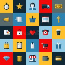 Set Of Flat Vector Online Shopping Icons Stock