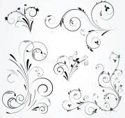 set of floral swirl design stock