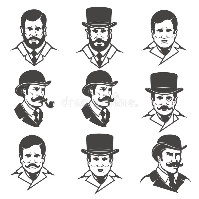 Set Of Gentleman Heads With Smoking Pipe Isolated On White