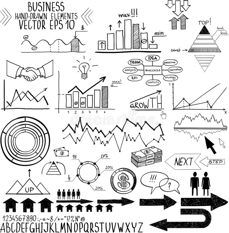 Set Of Hand Drawn Business Finance Elements Vector Royalty