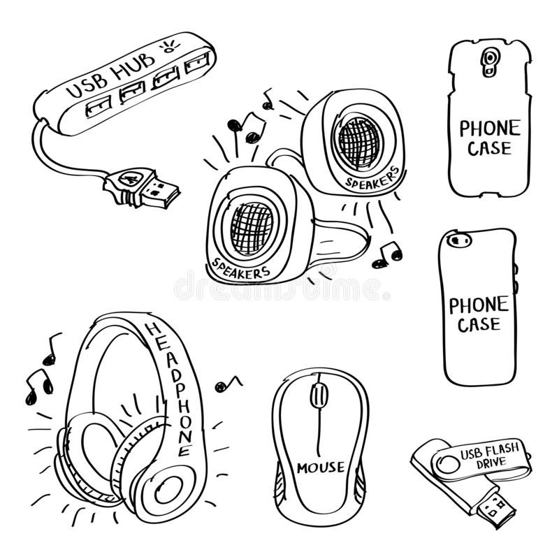 Phone And Computer Accessories Icon Set Stock Vector