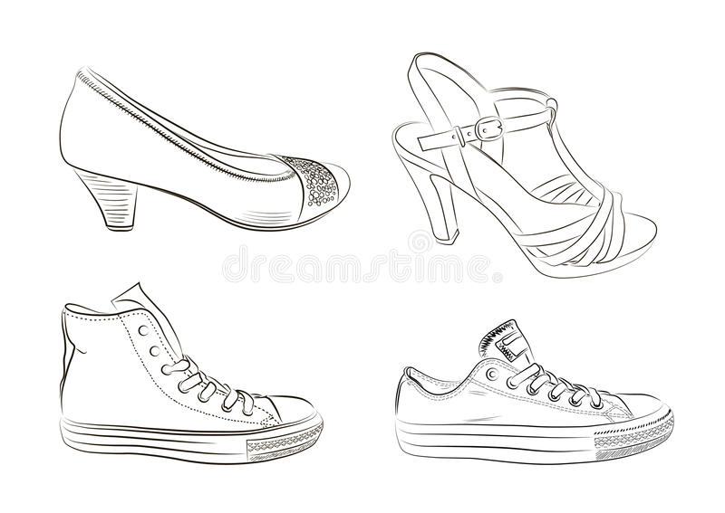 Set Of Hand Drawn Men And Women Shoes. Vector I Stock