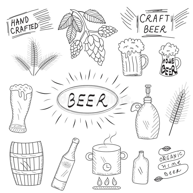 Home Brewing Factory Production Items. Vector. Stock