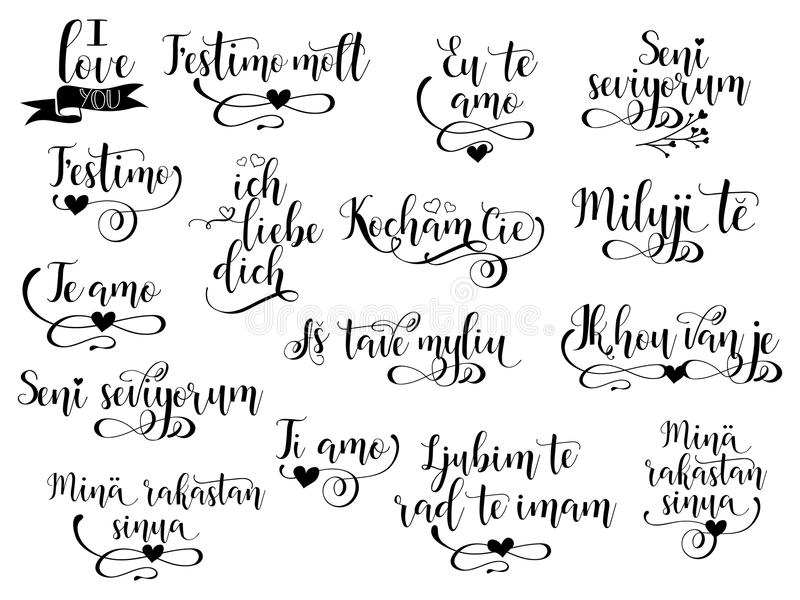 Heart With A Word Love In A Many Languages Stock