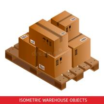 Set Of Isometric Cardboard Boxes And Pallet. Warehouse