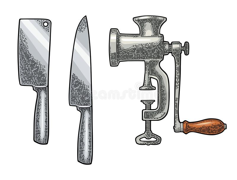 Set Kitchen Knifes And Manual Meat Grinder. Vector