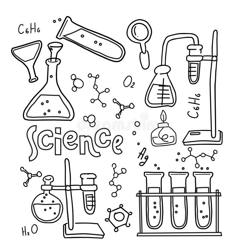 Chemistry Test Tubes Vector Outlined Sketch Round Concept