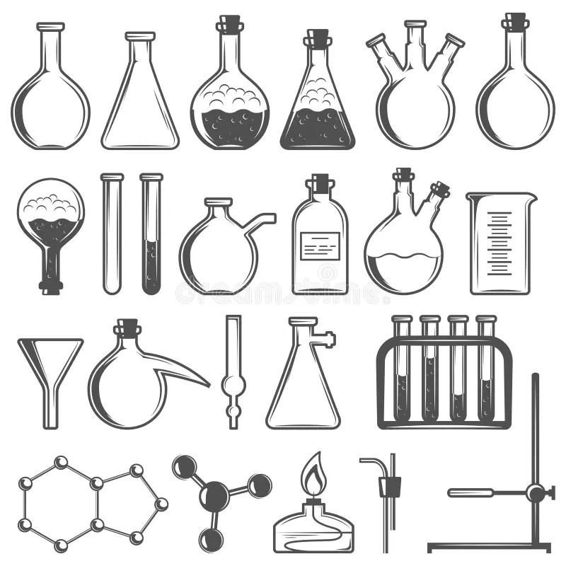 Set Laboratory Flasks Chemistry Objects Stock